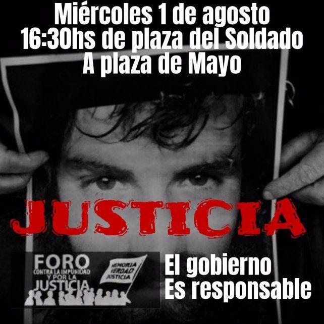 Marcha en pedido de justicia a un año de la muerte de Santiago Maldonado