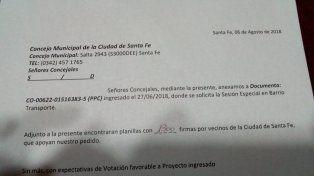 La nota entregada al Concejo por parte de los vecinos de barrio Transporte.