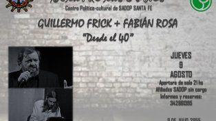 Guillermo Frick junto a Fabián Rosa ofrecerán un repertorio de tango