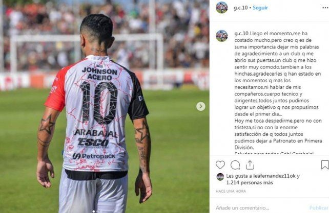 Carabajal se despidió de Patronato, ¿para llegar a Unión?