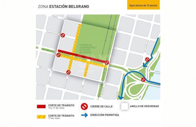 Los cortes de tránsito en inmediaciones de la Estación Belgrano.