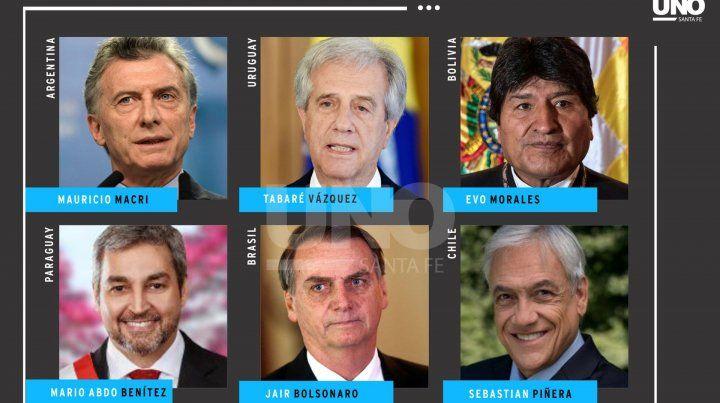 Presidentes. Los líderes de la región que estarán en Santa Fe