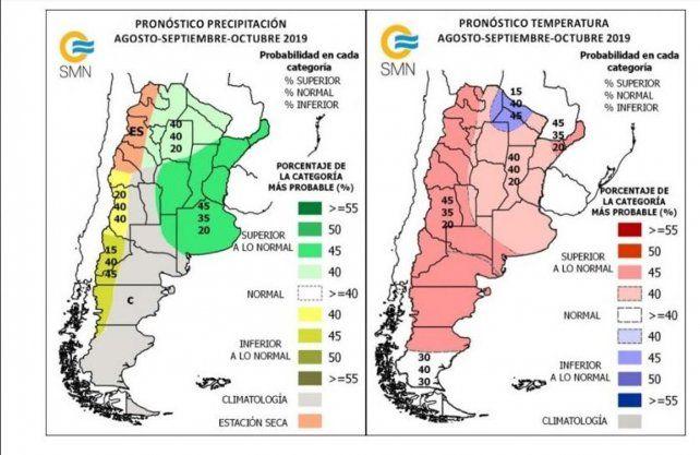 Mapa de temperaturas y lluvias en Argentina para agosto-septiembre-octubre.