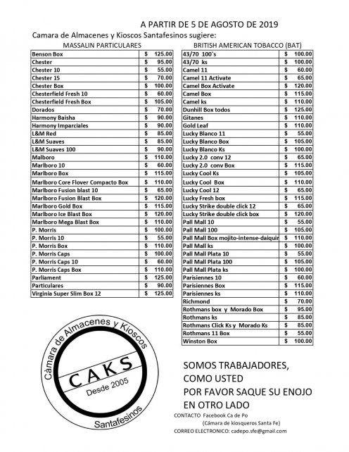 La lista actualizada de precios de cigarrillos en kioscos Cámara de Kiosqueros Santa Fe.