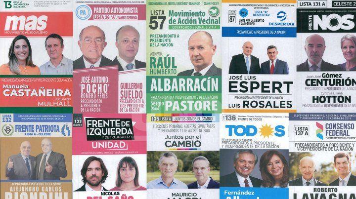 Las diez boletas de precandidatos a Presidente de la Nación