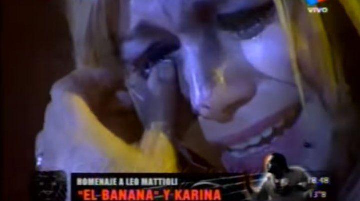 Homenaje a Leo Mattioli. Karina no pudo contener el llanto