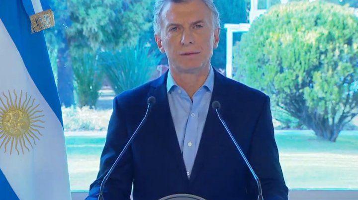 Conferencia de los anuncios de Mauricio Macri.