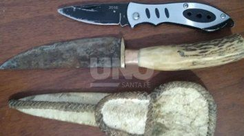 Los cuchillos secuestrados a los menores.