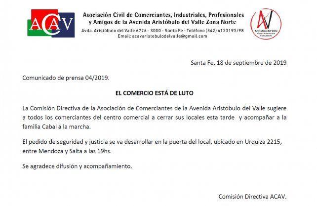 El comunicado del Centro Comercial a Cielo Abierto de Aristóbulo del Valle.