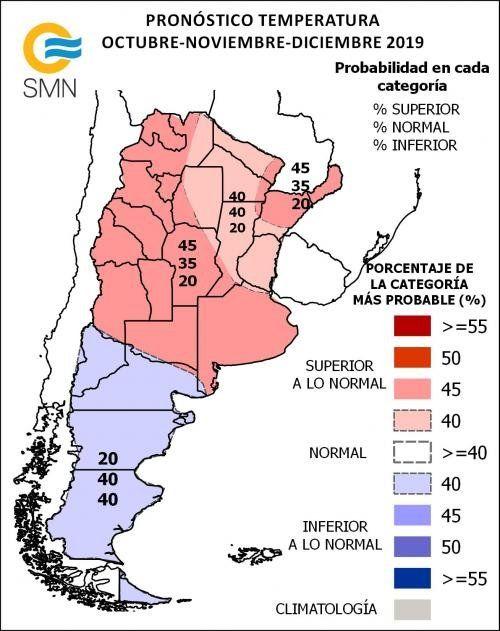 Proyecciones de temperaturas elaboradas por el SMN para el último trimestre del año.