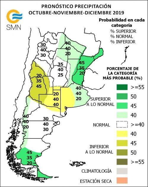 Proyecciones de lluvias elaboradas SMN para el último trimestre del año.