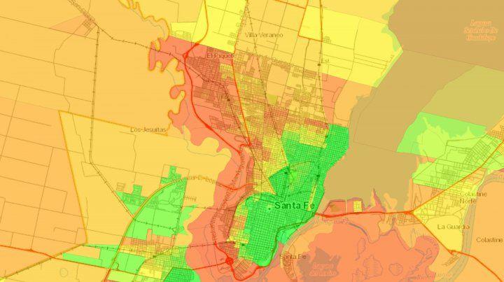 La ciudad de Santa Fe según el mapa interactivo elaborado por el Conicet.