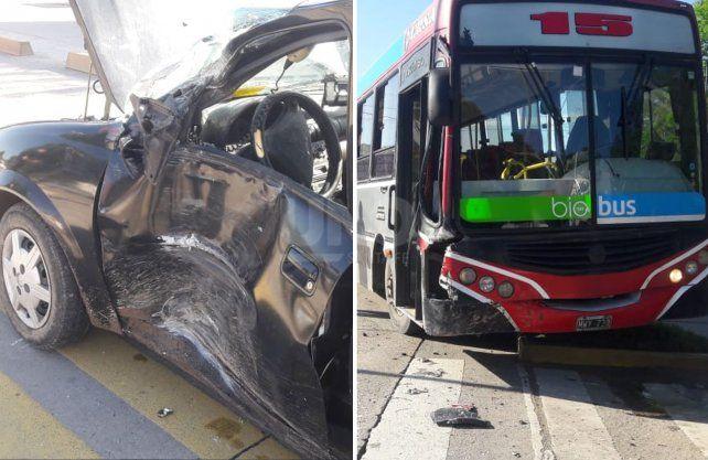 accidente entre un taxi y un colectivo en el Metrofé de Blas Parera.