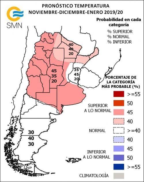 El pronóstico trimestral de temperaturas del SMN para las distintas provinica.