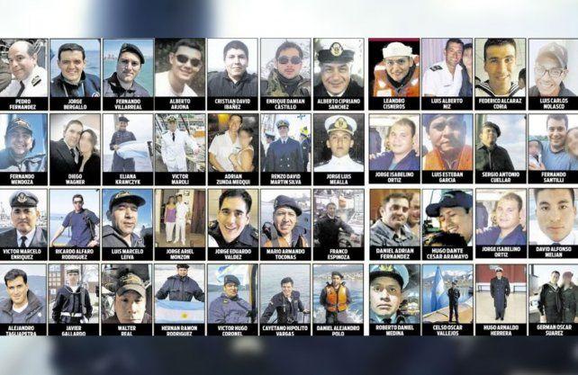 Los 44 tripulantes del ARA San Juan.