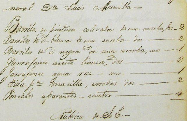 Fragmento de uno de los manuscritos en los que se detallan los artículos para pintar los cañones.