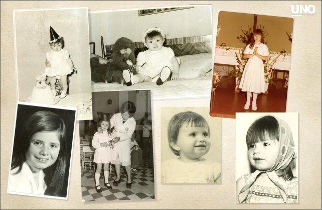 Alicia. Cuando era una beba, en uno de sus cumpleaños y a los ocho años cuando hizo la primera comunión, en Ituzaingó, en la provincia de Buenos Aires, donde vive hoy con toda su familia.