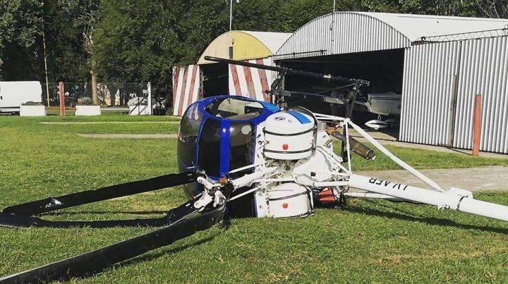 El helicóptero que cayó en elAero Club de Casilda.