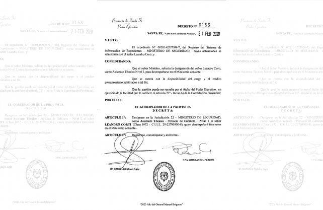El decreto, fechado el 21 de febrero pasado, lleva las firmas del gobernador Omar Perotti y el ministro de Seguridad, Marcelo Sain.