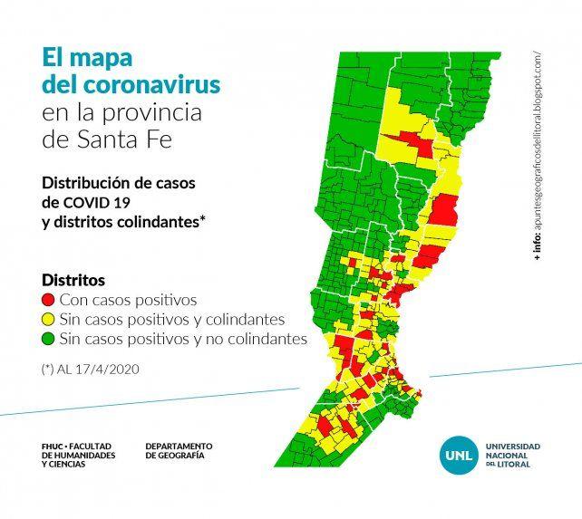 El mapa del coronavirus en la provincia de Santa Fe, un estudio realizado por Javier Gómez, Doctor en Geografía, docente e investigador de la UNL