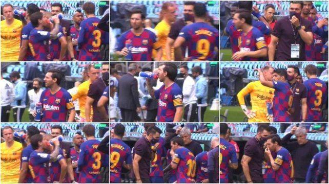 El momento en que Messi ignora a Sarabia, ayudante de campo de Quique Setién.