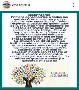 El mensaje de Emanuel Britez, exjugador de Unión, en sus redes sociales.