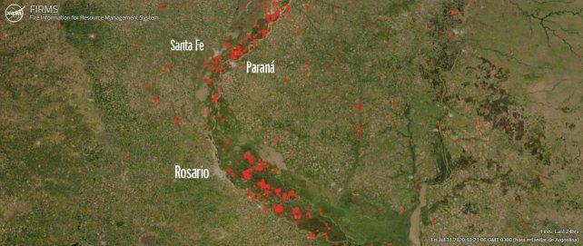 El mapa elaborado por la Nasa en dónde pueden verse los focos activos en distintas partes del mundo y de manera actualizada.