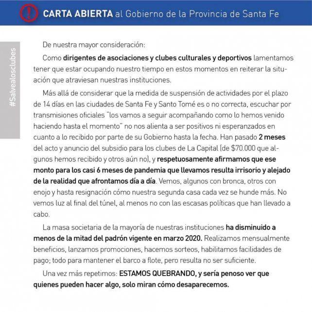 Desesperada carta de los clubes locales al Gobierno de Santa Fe