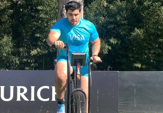 El pilar Nahuel Tetaz en uno de los entrenamientos de rugby realizados en Buenos Aires por parte de Los Pumas.