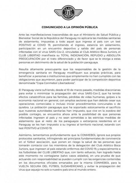El comunicado de Libertad, que evalúa pedir los puntos de la Libertadores ante Boca.