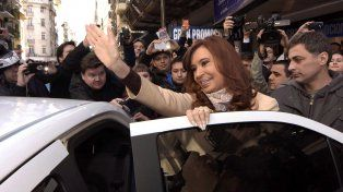 Cristina Kirchner luego de su mediación con el periodista Eduardo Feinmann (Télam).