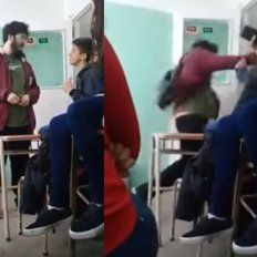 Brutal agresión de un militante a un menor en una escuela: quedó todo grabado