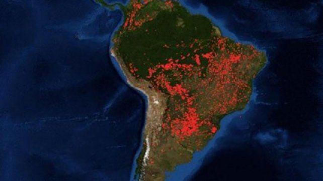 La impactante foto de los incendios en el Amazonas