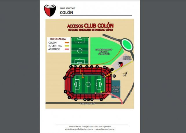El protocolo de ingreso y egreso al estadio para el amistoso entre Colón y Newell's en el Brigadier López.
