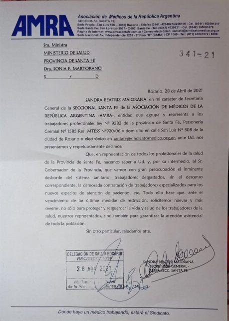 La carta de MRA a la ministra de Salud Sonia Martorano